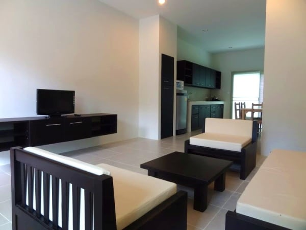 Interior of two-bedroom apartment in Chalong with very modern furnishings for a phuket apartment rent space