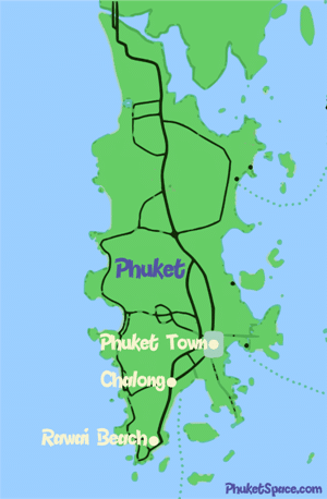Phuket apartments for rent displayed on a map of the island