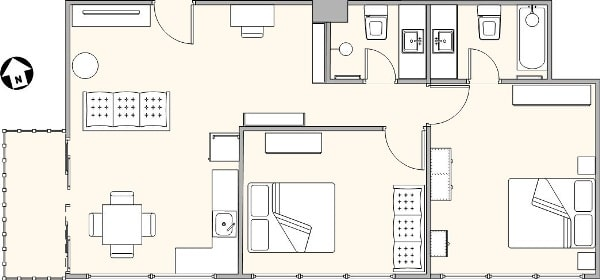Floor plan for two-bedroom apartment in Phuket Town